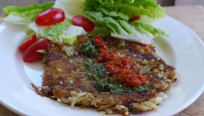grated potato fritters with a filling