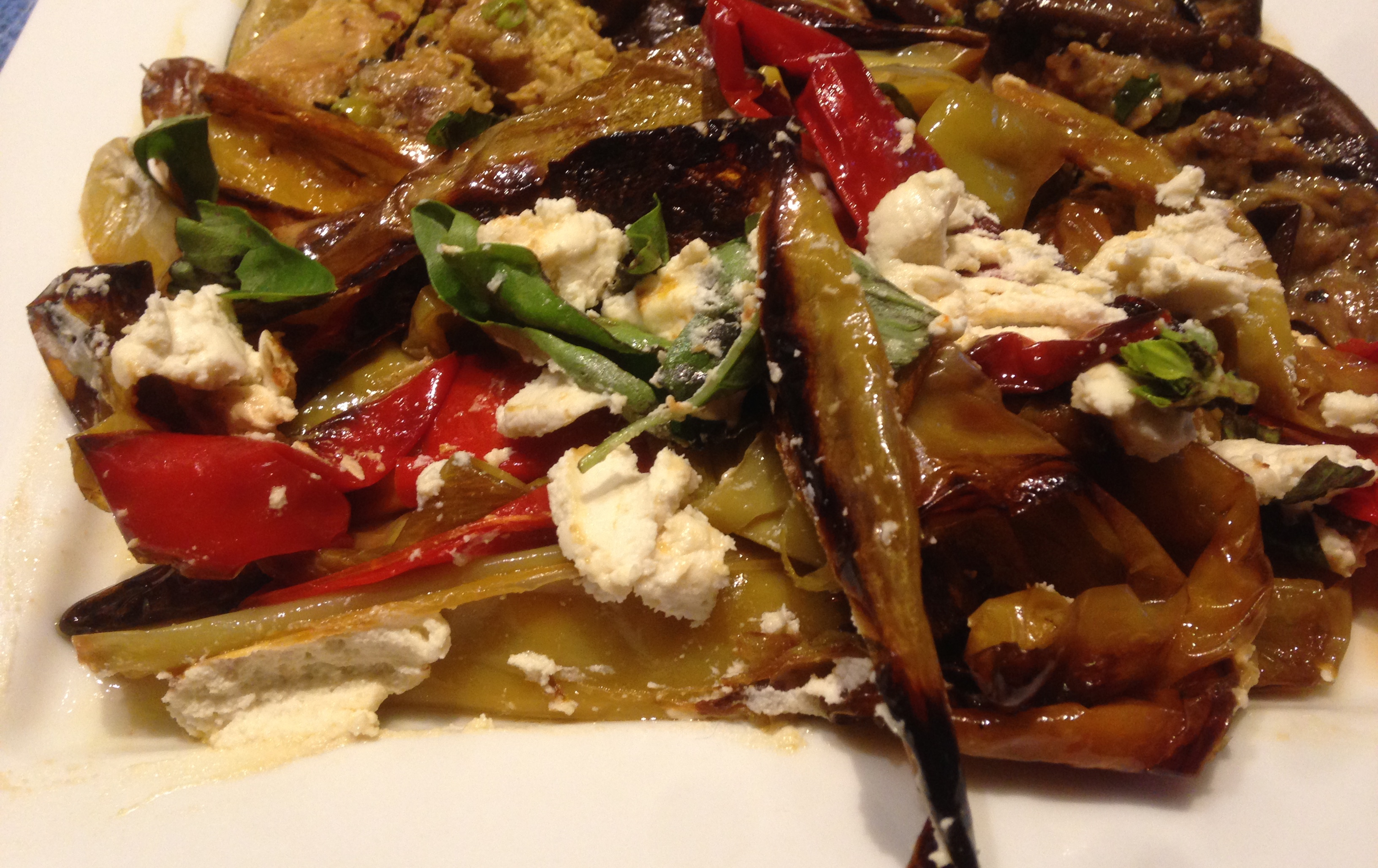 roasted peppers with basil and almond feta