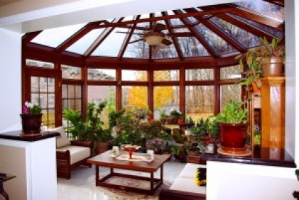 Wood sunroom conservatory style