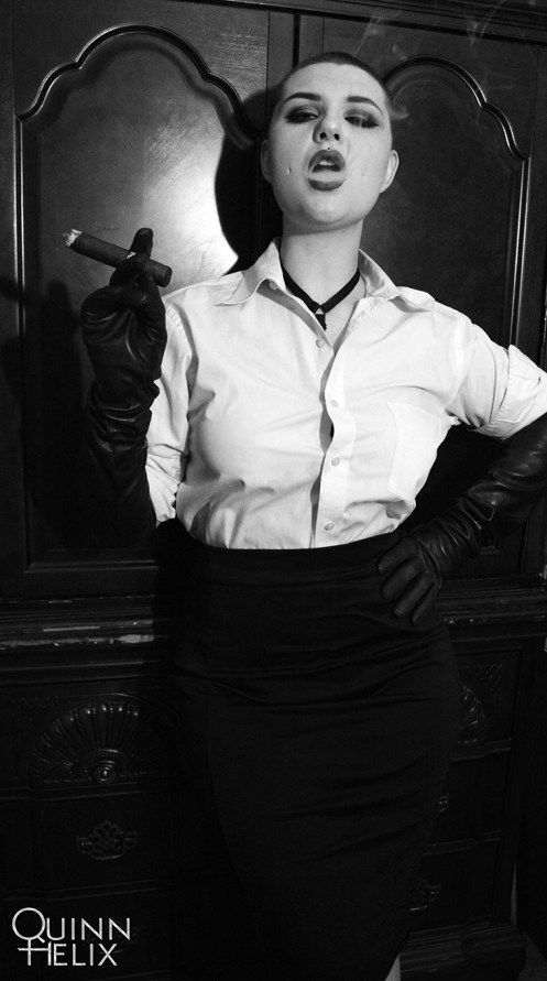 Cigar Smoking in Leather Gloves Shaved Head 11