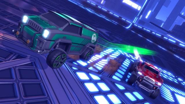 Carro do Lanterna Verde e Cyborg Rocket League