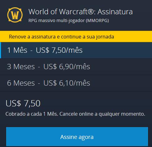 Mensalidade World of Warcraft