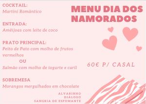 Menu S. Valentim 2019 - Quinta do Caminho