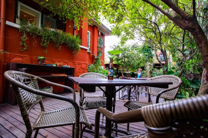 Jardim ao ar livre para almoço no Quintana