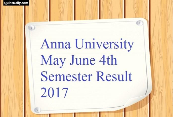 Anna University May June 4th Semester Result 2017