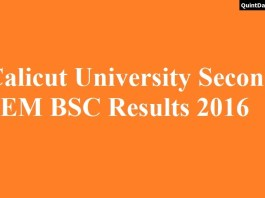 Calicut University 2nd SEM BSC Results 2016