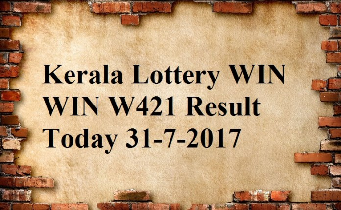Kerala Lottery WIN WIN W421 Result Today 31-7-2017.