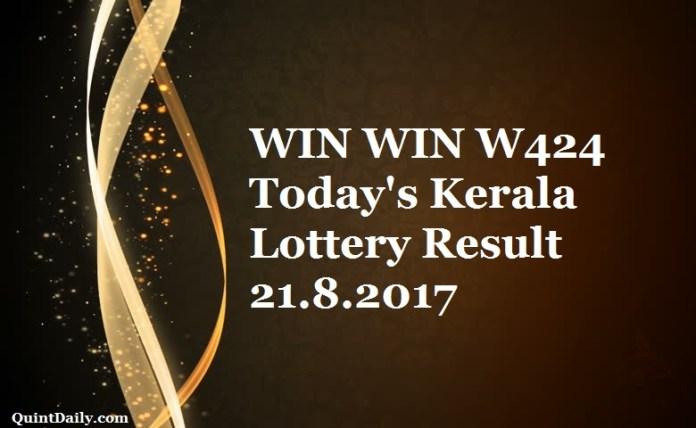 WIN WIN W424 Today's Kerala Lottery Result 21.8.2017