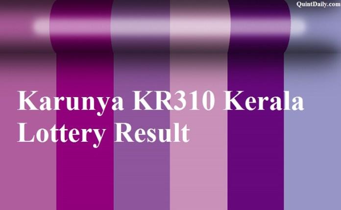 Karunya KR310 Kerala Lottery Result