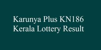 Karunya Plus KN186 Kerala Lottery Result