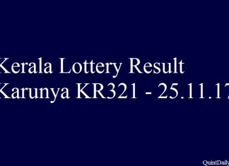 Kerala Lottery Result Today Karunya KR321 - 25.11.2017