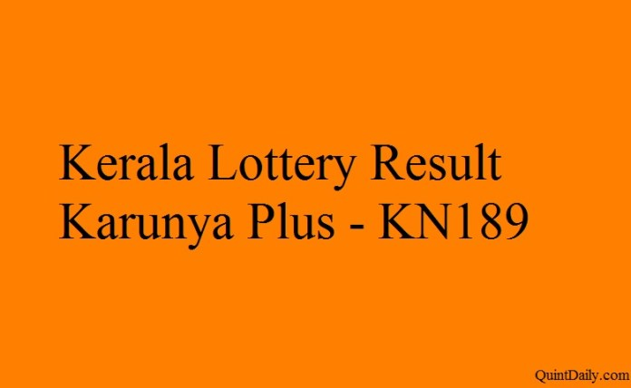 Kerala Lottery Result Today Karunya Plus KN189