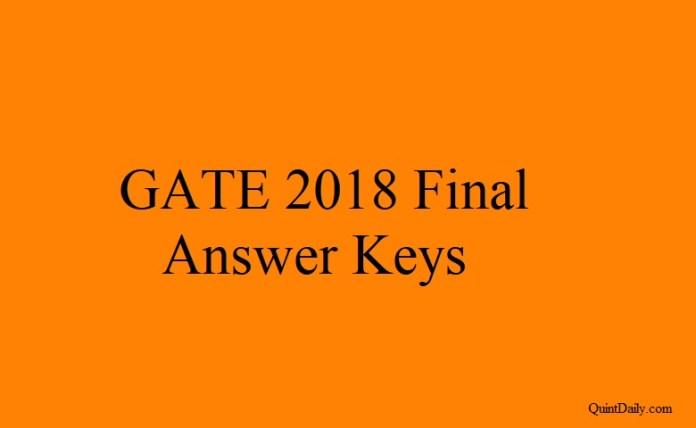 GATE 2018 Final Answer Keys #GATE2018