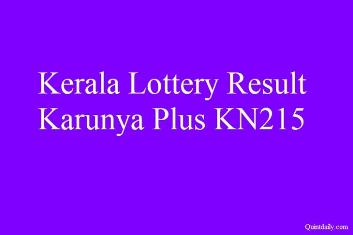 Kerala Lottery Result 31.5.2018 Karunya Plus KN215