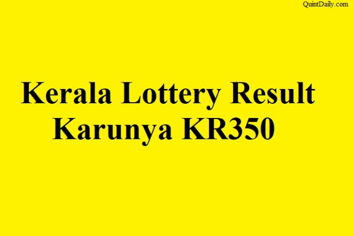 Kerala Lottery Result 16.6.2018 Karunya KR350 Today