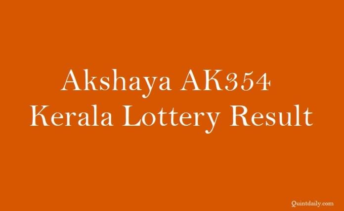 Akshaya AK354 Kerala Lottery Result