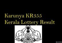 Karunya KR355 Kerala Lottery Result