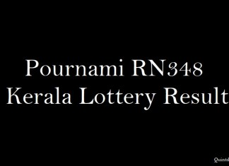 Pournami RN348 Kerala Lottery Result