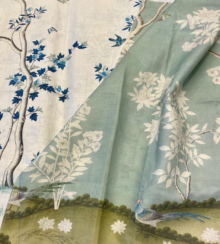 Gracie Hampton Garden and Indigo Garden linen fabrics
