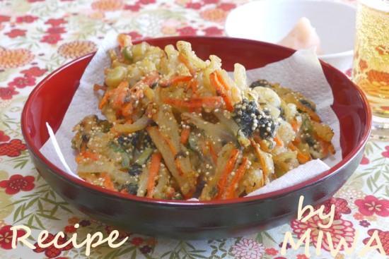 キヌアでプチプチ根菜のかき揚げ