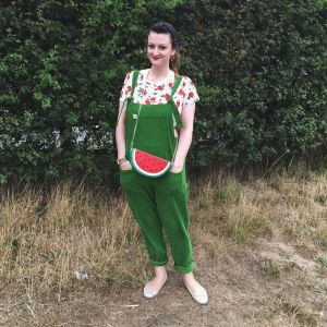 green lucy and yak dungarees and collective watermelon bag