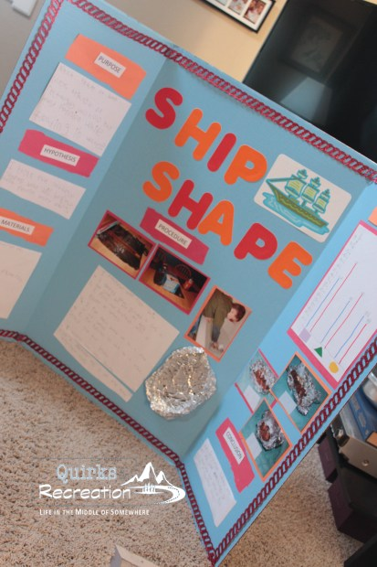 Ship Shape science fair project