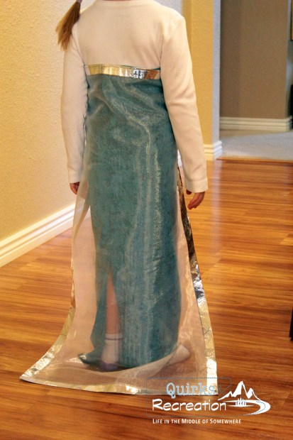 View from behind of the DIY Disney Frozen Elsa dress