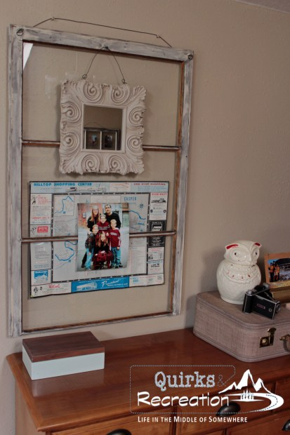 Repurposed Large Window as a Family Photo Frame