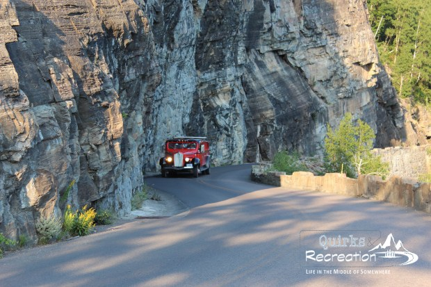 Red jammer bus on Going-to-the-Sun Road - Glacier National Park