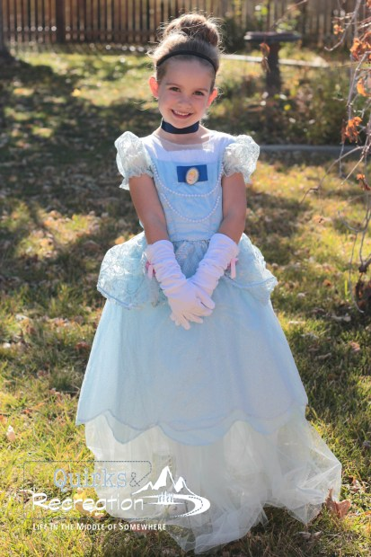 Preschool girl dressed as Cinderella for Halloween costume