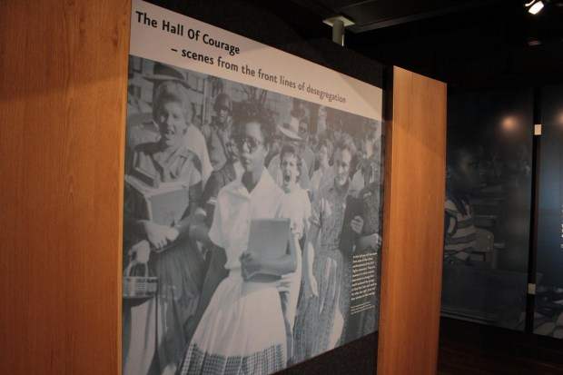 Large, historic desegregation photo at Brown v. Board of Education National Historic Site