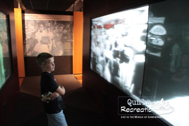 Boy watching video at Brown v. Board of Education National Historic Site