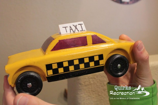Cub Scout Pinewood Derby taxi cab car