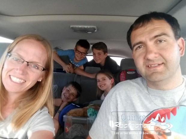 Family of six selfie