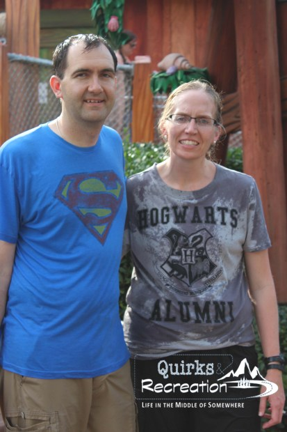 Soaked parents after a water ride at Islands of Adventure, Universal Orlando