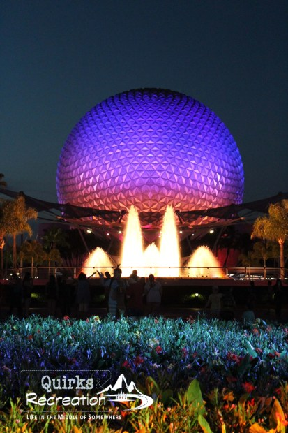 Spaceship Earth at night in Walt Disney World Epcot