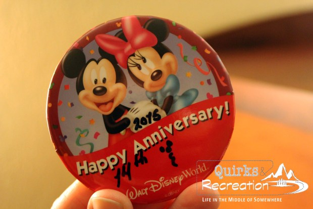 Happy Anniversary badge Walt Disney World