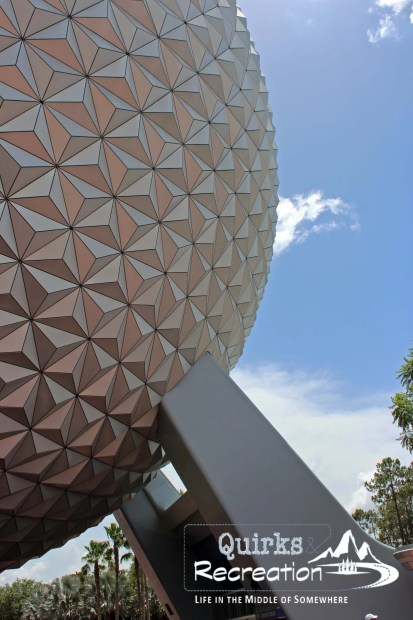 Close-up view of Spaceship Earth at Walt Disney World Epcot