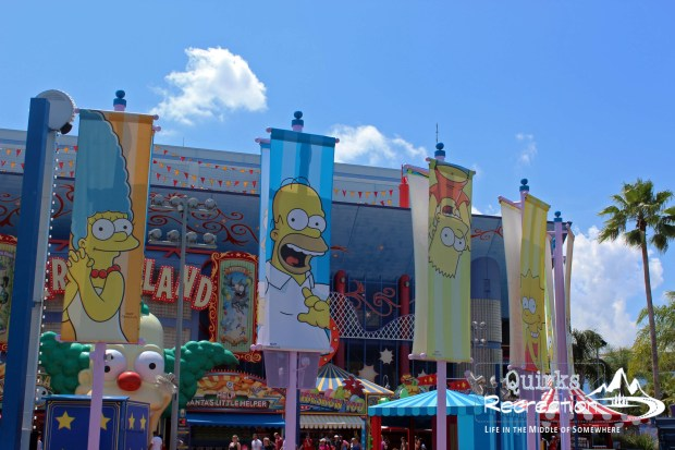 signs showing The Simpsons characters Universal Studios