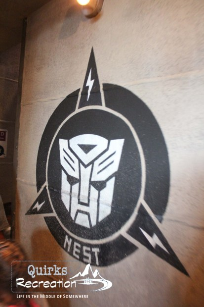 a Transformers nest sign inside the ride at Universal Studios