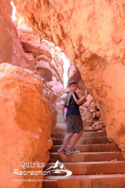 Boy climbing stairs in Bryce Canyon National Park