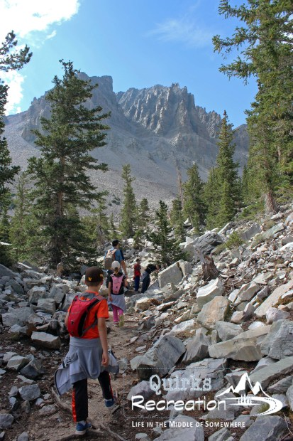 family hiking the rocky Glacier Trail in Great Basin National Park