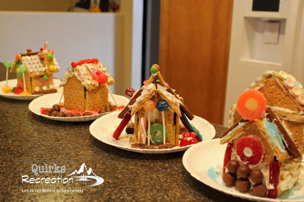 gingerbread houses in a row