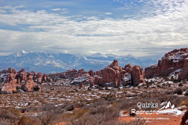 view of La Sal Mountains from Arches National Park