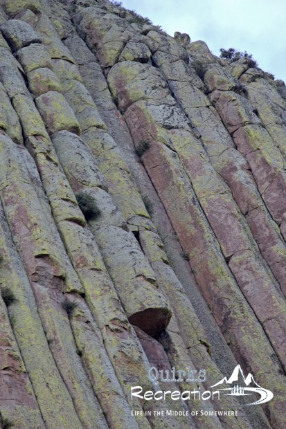 closeup of Devils Tower National monument
