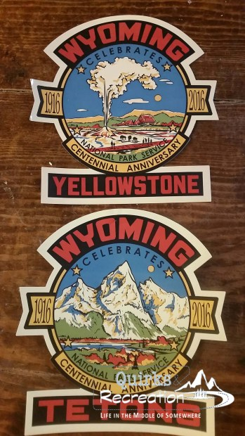 Wyoming commemorative sitckers for National Park Service