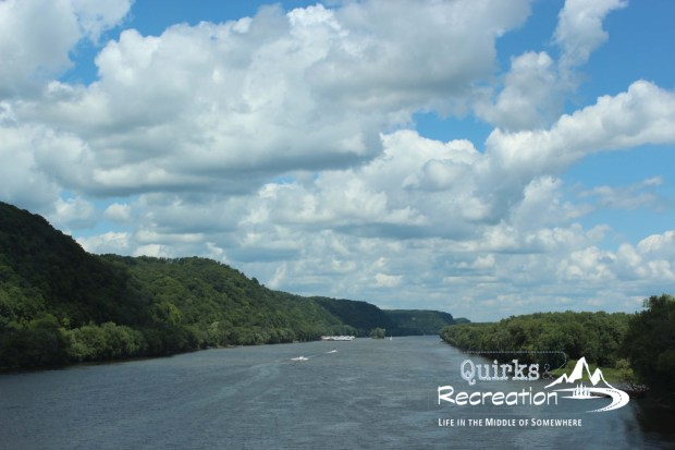 Mississippi River with green banks and cloudy sky