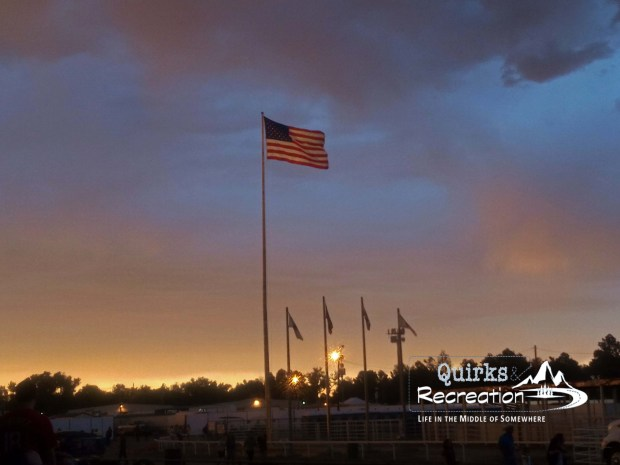 American flag flying at dusk
