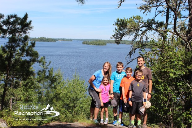 family posing for photo at Voyageurs National Park