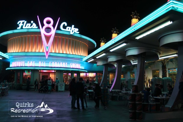 Flo's Cafe at night California Adventure